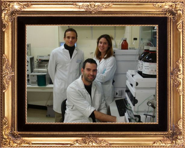 From left to right, some of the researchers at the University of Granada laboratory: Juan Pedro Arrebola, Francisco Artacho and María Fernández
